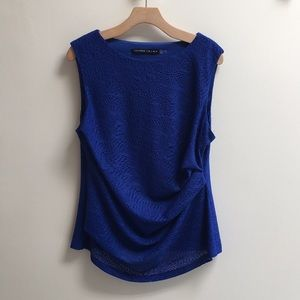 Ivanka Trump blue lace side pleat top L